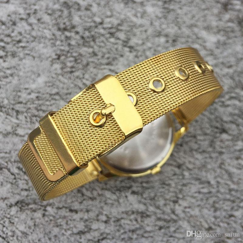 Mode féminine Marque bande métal acier filles montre-bracelet à quartz de CH02