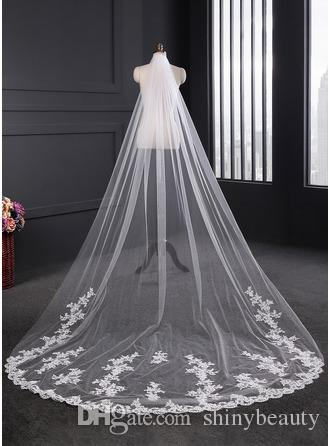 One Layer White Appliques Long Romantic Tulle Romantic Beautiful Special Wedding Events Wedding Supplies Bridal Veil