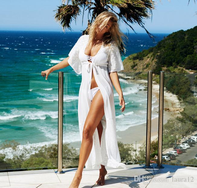 Europa und die Vereinigten Staaten lange Chiffon und Spitze Strand Vertuschen für Bikini Real Image Knöchel Länge Kurzarm Rash Guards Kostenloser Versand