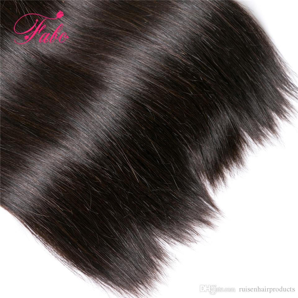 brazilian straight hair 3 bundles 6a grade human hair bundles with closure fabc unprocessed virgin brazilian hair extensions