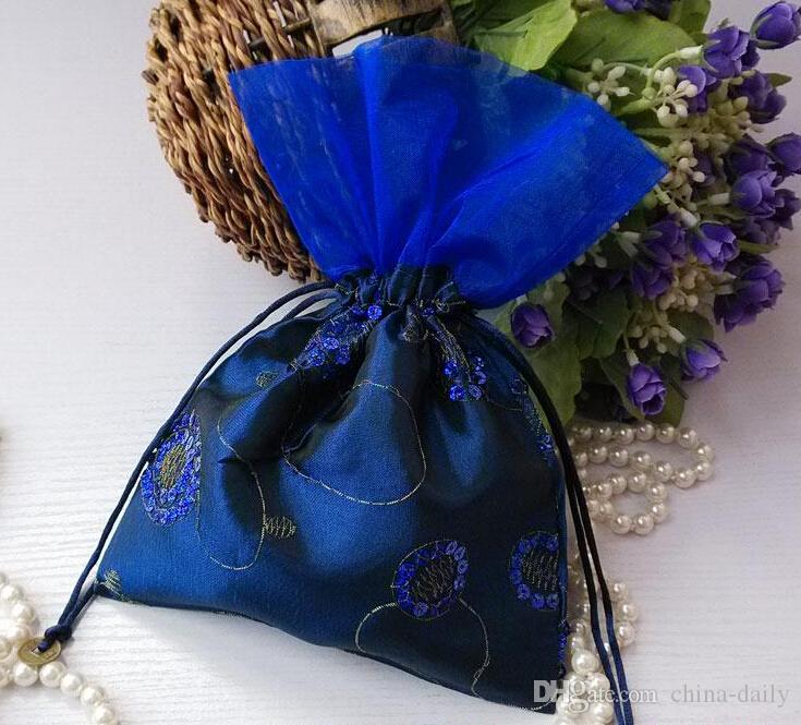 Navio livre Handmade Alta qualidade 16 * 23 cm Bordar Saco de Lantejoulas Sacos de Jóias Doces Beads Sacos de Presente da Festa de Casamento