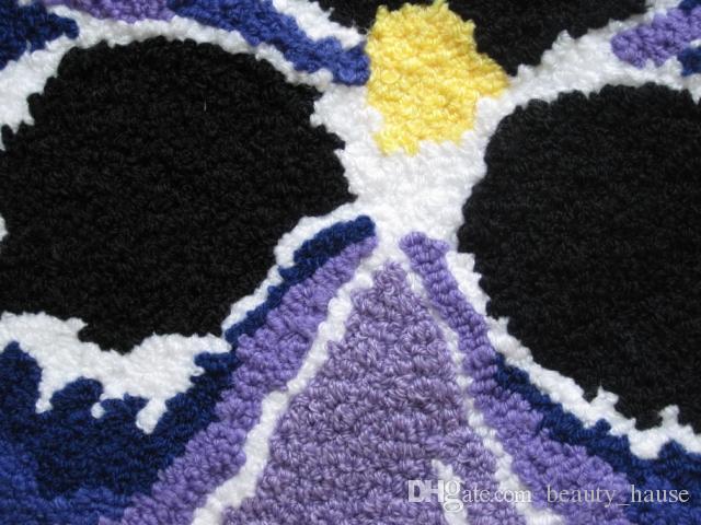 Borboleta azul New Hooked Mão Mat flor viva Porta Mats, novidade bordado Porch Capacho Chão Karpet Cozinha Tapetes presente