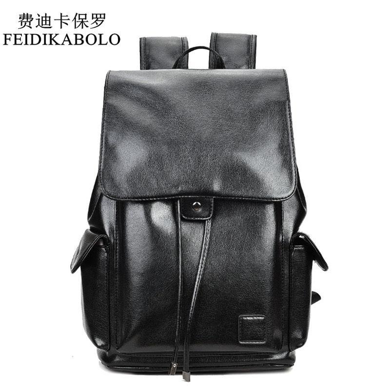 b6d1c963891 FEIDIKABOLO Famous Brand Boys Black Bags Leather School Backpack Bag For  College Simple Design Men Casual Daypacks Mochila Male Backpacks For Teens  Cheap ...