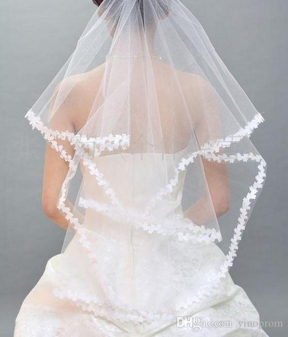 2018 Sexy elegante in stile africano tulle sposa pizzo appliques fiori la cerimonia nuziale di trasporto libero pizzo veli da sposa