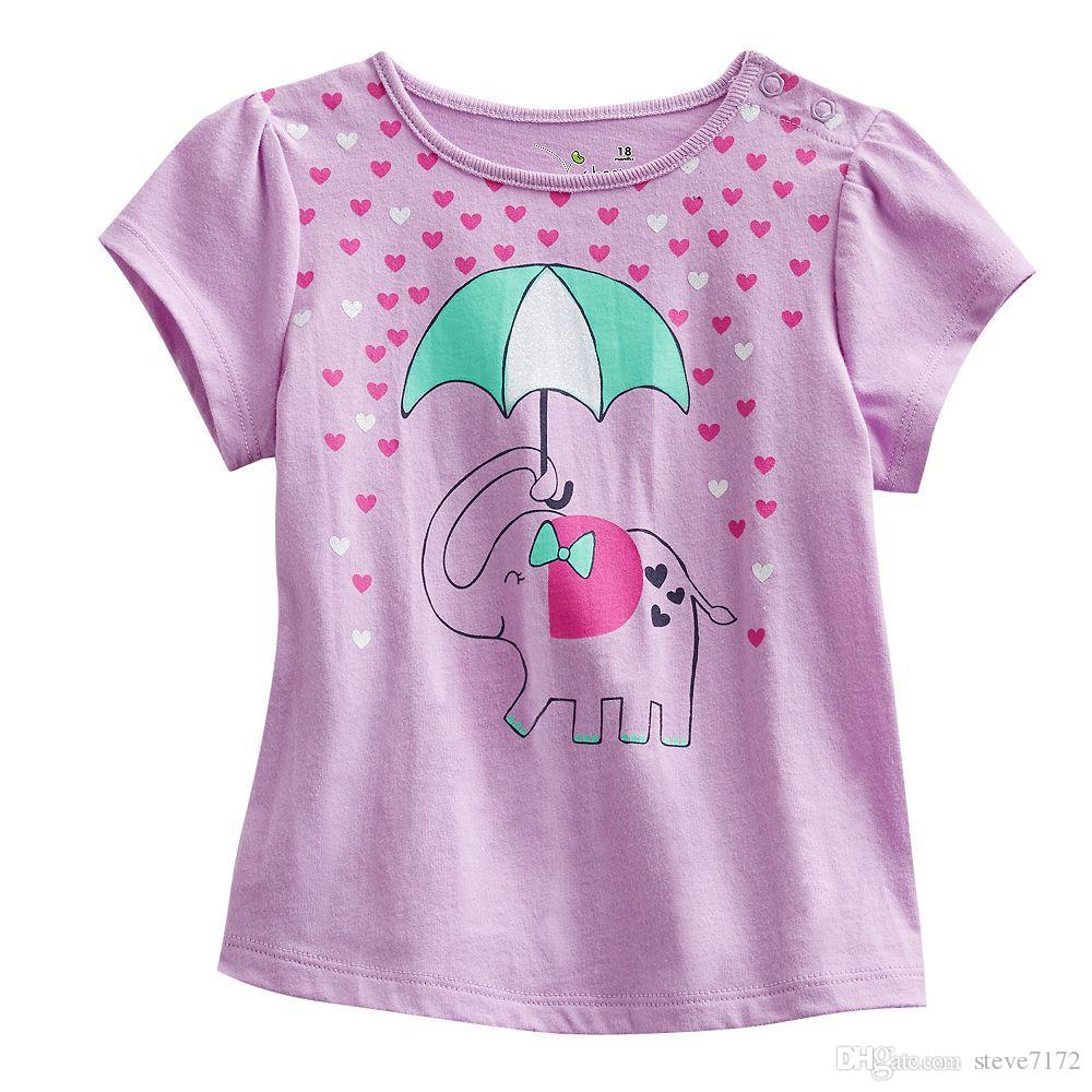 Pink elephant girls t-shirts short sleeved tee shirts children's tee shirt outfits kids clothes boys jersey jacket