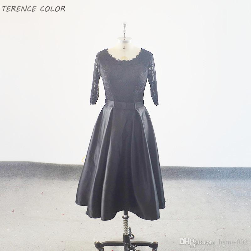 Реальные Простые вечерние платья новые стили черный среднецепные тонкий элегантный короткий банкет платья лета выпускного вечера платья партии