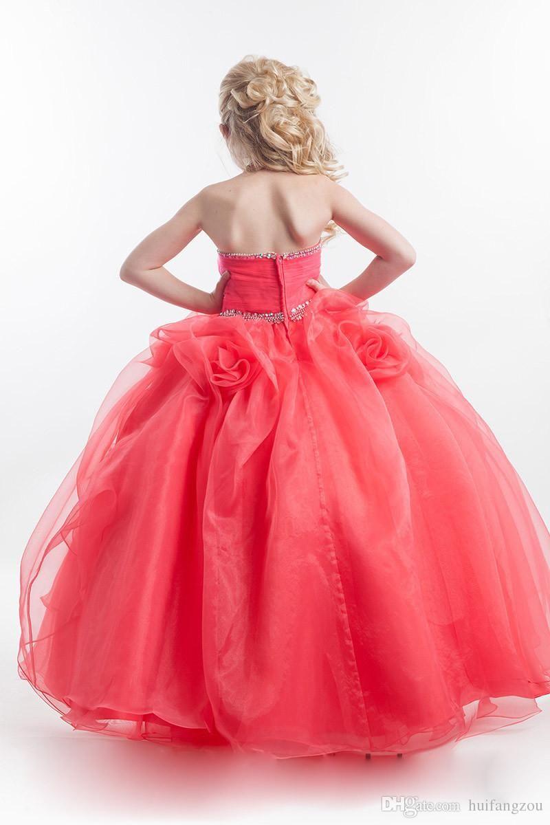 Pretty Watermelon Flower Girl Dresses For Wedding Rachel Allan Beaded Pageant Dress For Girls Handmade Flowers Birthday Party Ball Gowns