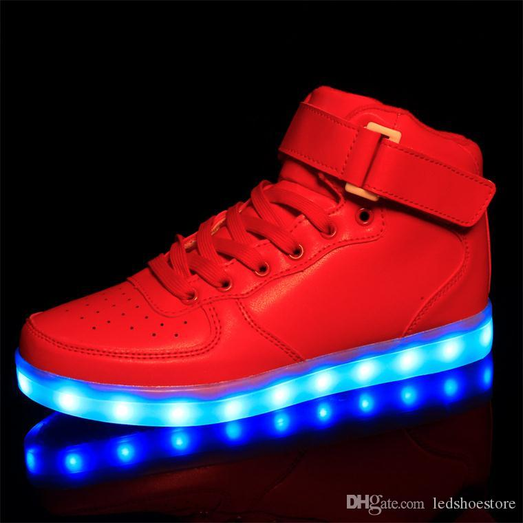 Led Shoes Woman USB Light Up Unisex Sneakers Lovers For Adults Girls Casual  Students Sports Glow With Fashion High Top Luminous Board Shoe