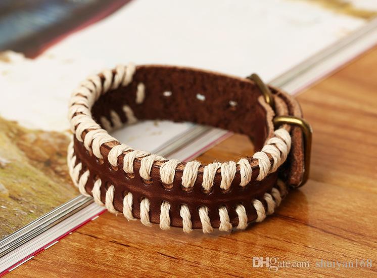 Bracciale punk avvolgente da uomo in pelle retrò Braccialetti Cintura da polso Bracciale fatto a mano Bracciale in vera pelle di vacchetta tribale Regalo di Natale