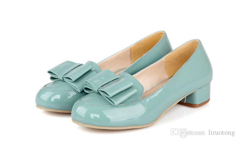 The spring and autumn period and the new tide of candy color paint low sweet bowknot documentary thick with slip-on shoes lighter female s