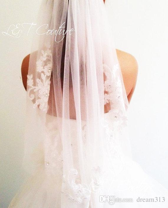 New Amazing Best Sale Cheap Romantic One Layer White Ivory Elbow Lace Applique veil For Wedding Dresses Bridal Head Pieces