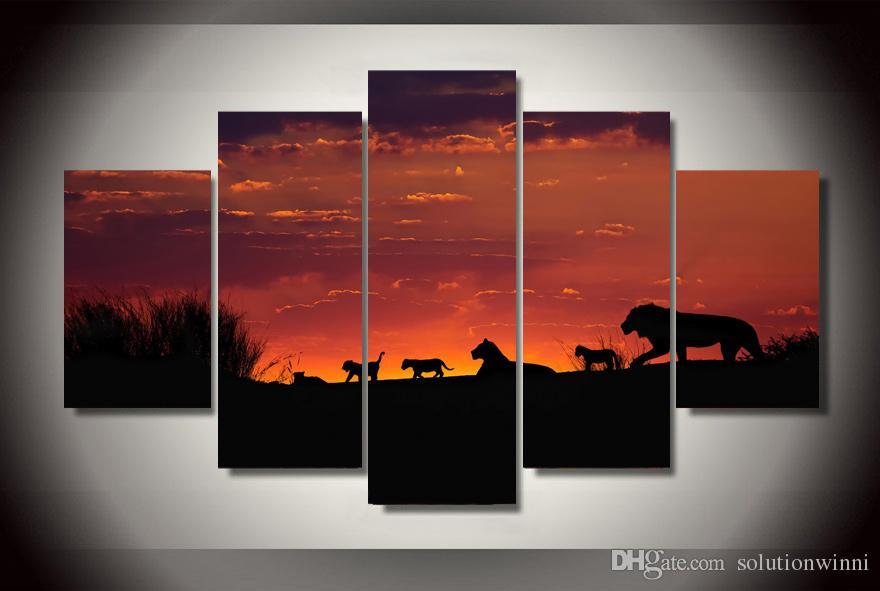 Satın Al 5 Parça Hd Baskılı Afrika Sunset Hayvanlar Boyama Tuval