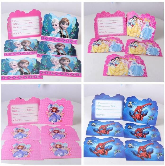 6 Styles Cartoon Sophia Cinderella Theme Party Supplies Girls Frozen