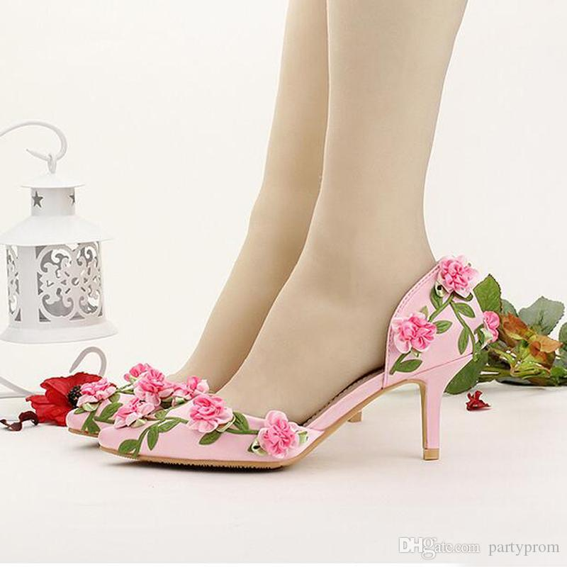 17b21ff529d1 Bride Shoes White Pointed Toe Flower Wedding Shoes 7cm Comfortable Kitten  Heel Spring Women Pumps Bridesmaid Shoes Pink Red Silver Wedding Shoes  Wedding ...