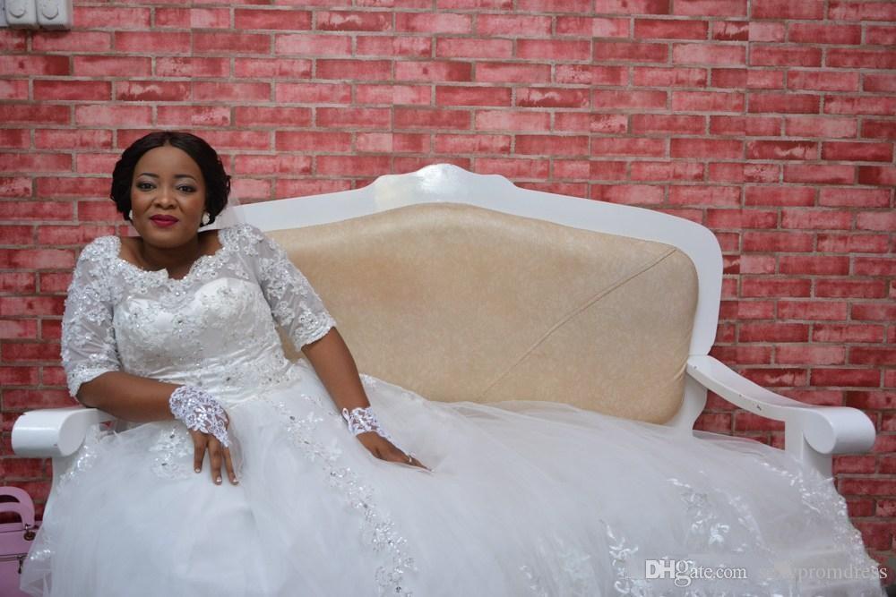 Dentelle Plus La Taille Nigéria Robes De Mariée Sheer Demi À Manches Longues Une Ligne Robes De Mariée Robes De Mariage Sud-Africaines Custom Made