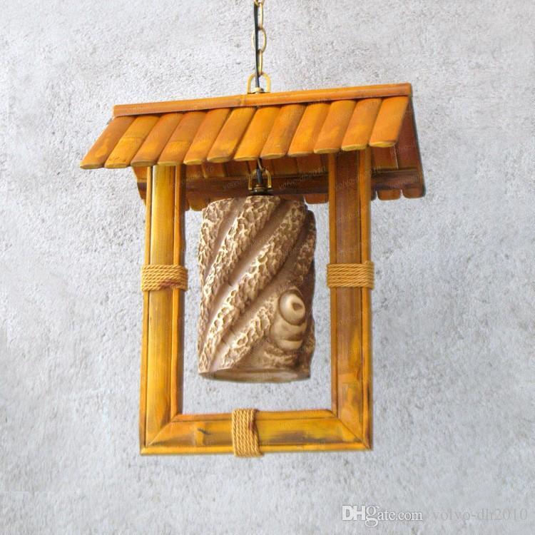 Spedizione gratuita Retro lampadario di bambù caratteristiche lounge ristorante Inn Inn hotel lobby casa di bambù Lampadario LLFA11