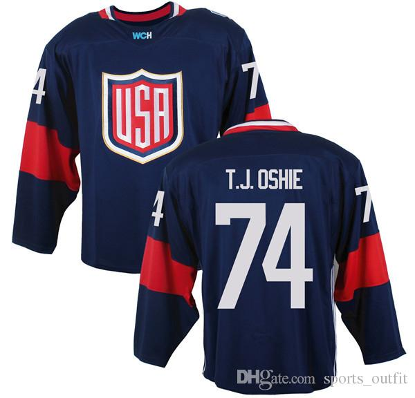 Men's Team USA #74 T- J- Oshie Navy Blue 2016 World Cup of Hockey Game Jersey