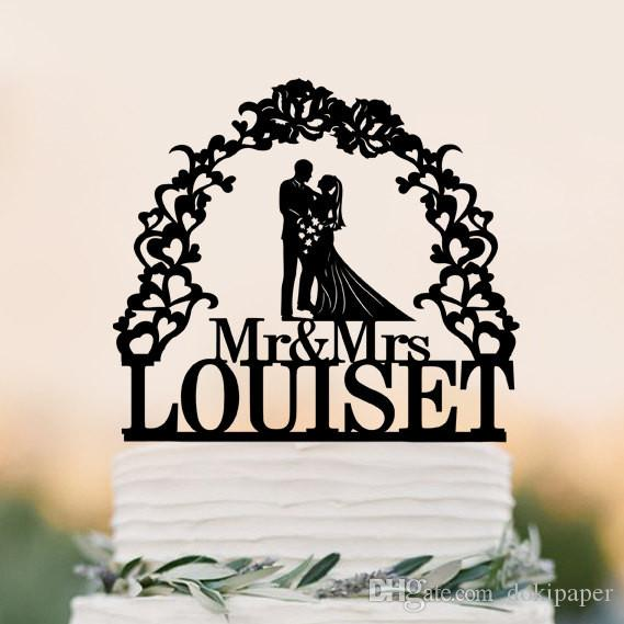 2018 Custom Wedding Cake Topper Silhouette With Last Name ...