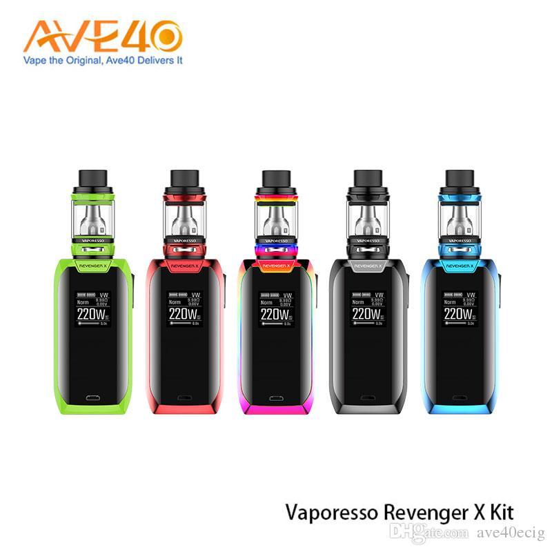 Kits de démarrage originaux Vaporesso Revenger X 220 W avec 2 ml 5 ml NRG réservoir atomiseur bouton tactile TC Kit Mod Mod 100% authentique