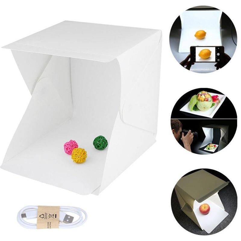 Mini Led Photo Studio Складной тента фотография освещение палатка Комплект с белым и черным фоном Портативного фотография Box