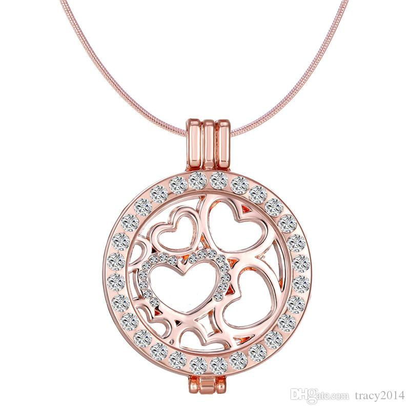 Mi Moneda Coin Holder with Crystal Stainless Steel Frame Pendant Locket heart Luxury Necklaces coin include coin+locket pendant+chain