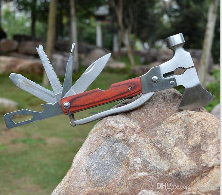 Outdoor camping emergency cutter tool car auto emergency safety hammer 16 in1 safety rescue tools mini screwdriver pliers Axe knife saw set