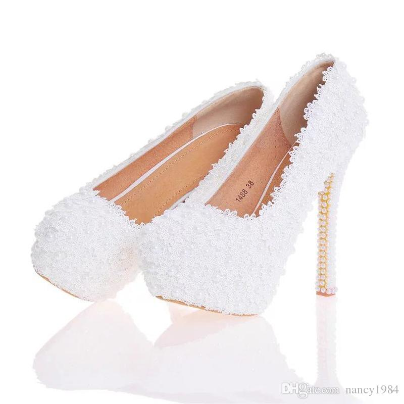 Lace Flower Wedding Shoes Beautiful Handmade Women High Heels Girl Party Prom Pumps Bridal Shoes White Pink Black Blue Color