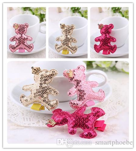 Wholesale 30pcs/lot 3Colors Solid Cute Sequin Bear with Glitter Crown Baby Girls Hairpins Fashion Girls Hairclips