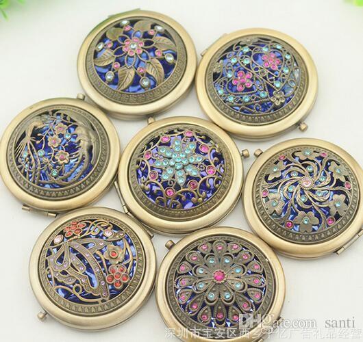 Vintage Pfau Pewowowl Metal Tragbare Taschenspiegel Zwei-Seiten Falten Make-up Spiegel Kosmetischer Make-upspiegel