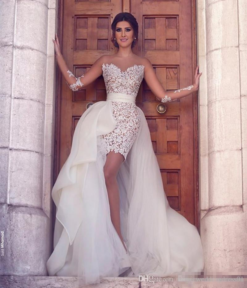 2017 Sheer Long Sleeves Lace Short Mini Wedding Dresses 2016 Beach A Line Sweep Train Tulle Bohemian Bridal Gowns With Detachable Train