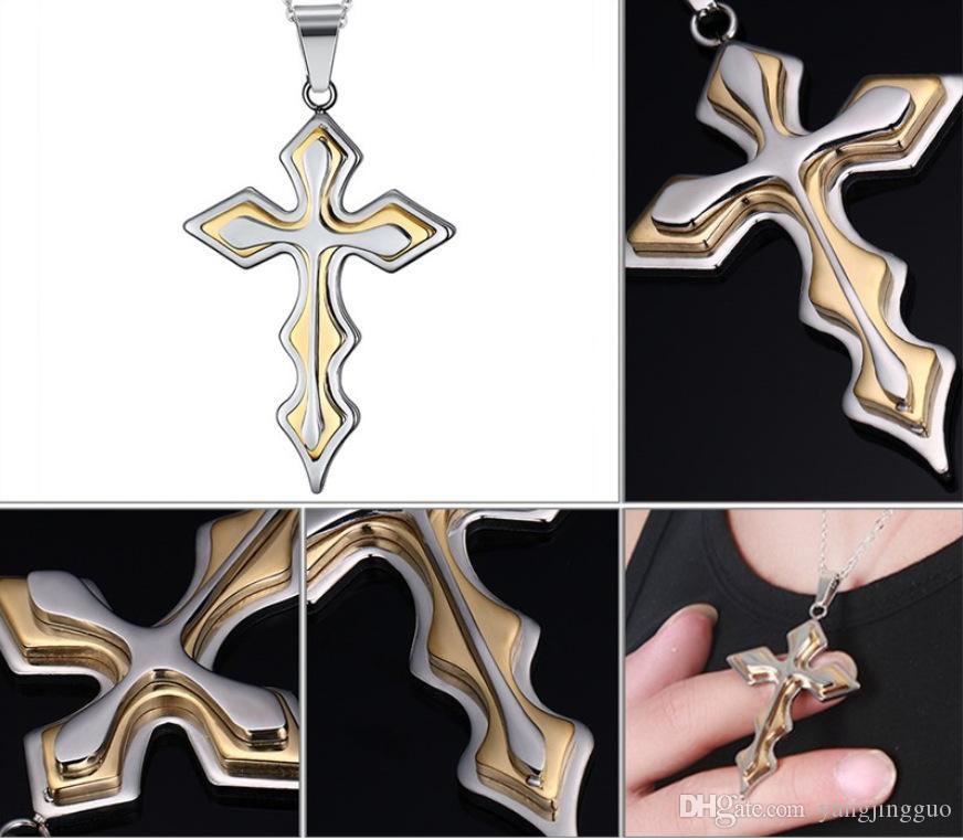 Accesorios de collar de múltiples capas cruzadas de múltiples capas de acero inoxidable para hombre de estilo europeo y americano con cuentas para una entrega gratuita