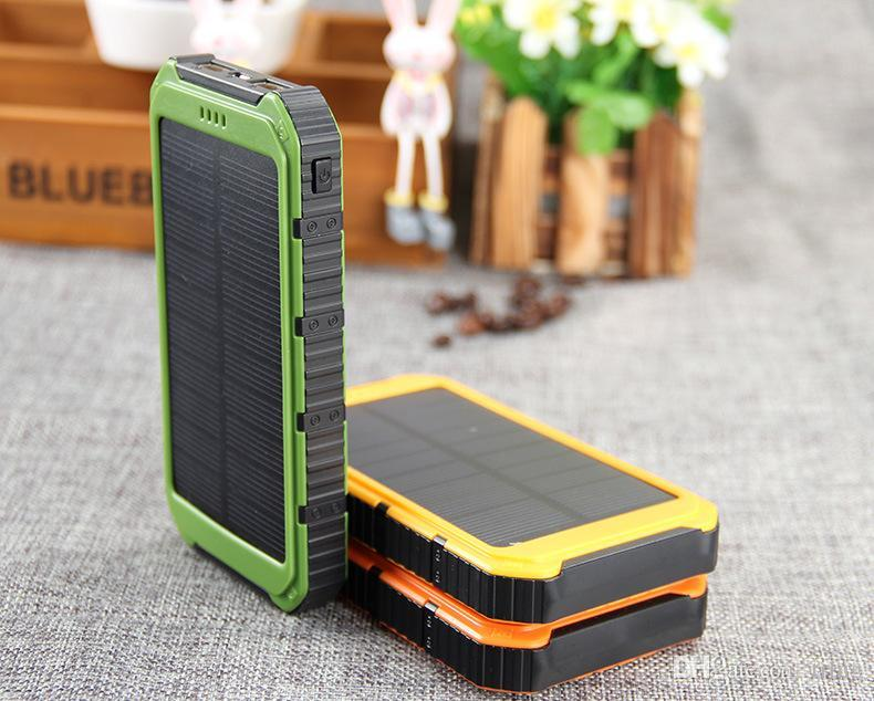 New Solar Power Bank Solar Charger Panel Shockproof mobile solar phone charger with dual usb ports Flashlight for CellPhone Laptop