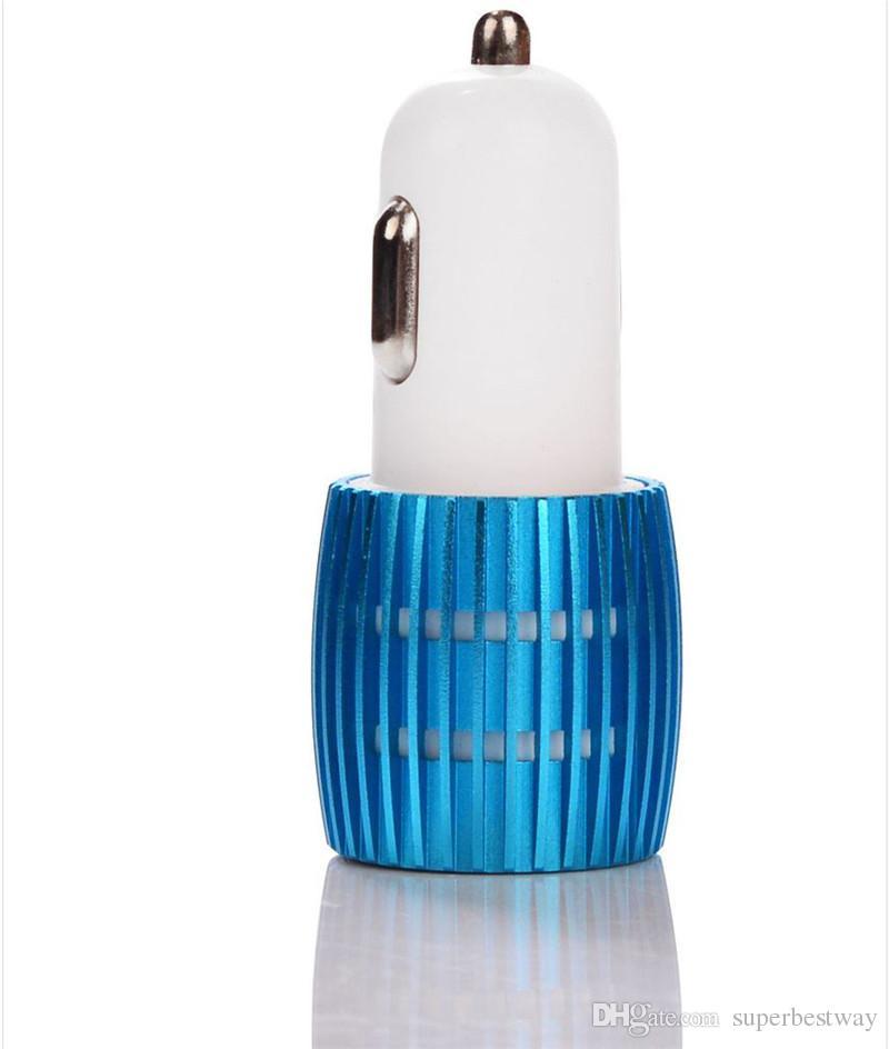 Для iPhone 6 автомобильное зарядное устройство новый двойной USB автомобильное зарядное устройство синий свет LED автомобильное зарядное устройство универсальный двойной usb цветовой контраст адаптер DHL бесплатно CAB123