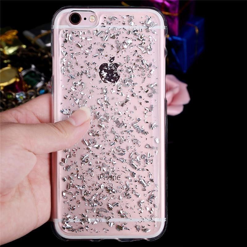 Colorful Glitter Gold Foil Paillette Paillettes trasparente Custodia in TPU Samsung Galaxy S6 S7 Edge Plus iPhone 5 SE 6 Grand Prime G530
