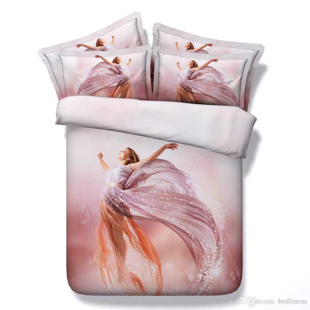 Hot Sale Beautiful Flower Girl 3d Printed Bedding Sets Twin Full