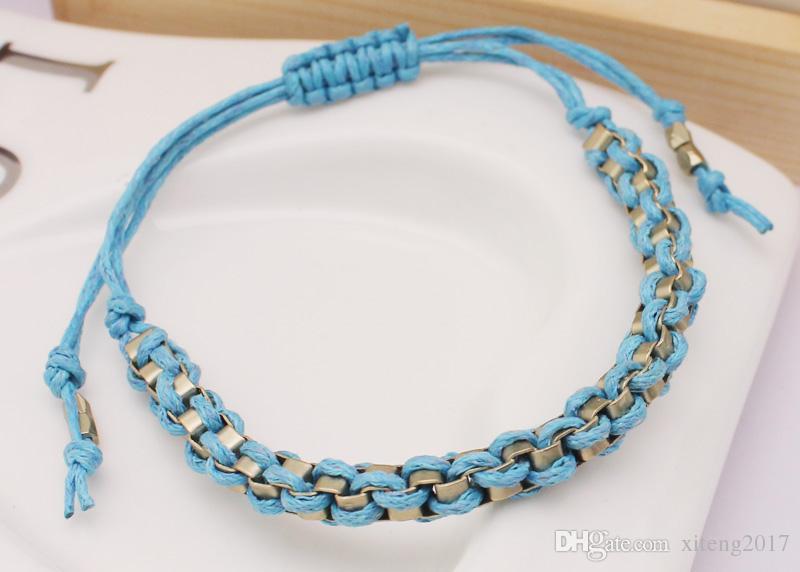 Bracelets tissés à la main de mode simple bleu pour les femmes bracelets de charme minimaliste cadeau de bijoux pas cher pour les vacances quotidiennes 2018