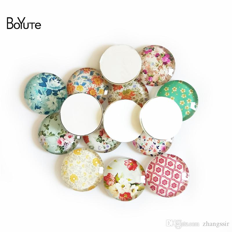 BoYuTe Handmade Photo Round Glass Cabochon Diy Jewelry Findings Wholesale Used For Ring/Earring/Pendant Necklace/Cufflinks Blank Cover