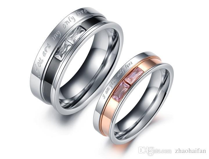 Monili di modo dell'acciaio inossidabile 316L di cerimonia nuziale delle coppie di fidanzamento Anello One Piece Price Cubic Zirconia Women Men Ring Jewelry329