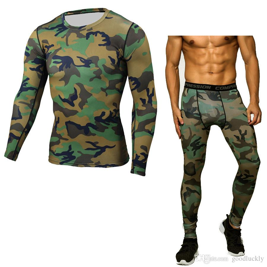 Camouflage Men's Compression Run jogging Suits Clothes Sports Set long t shirt And Pants Gym Fitness workout Tights clothing /Sets