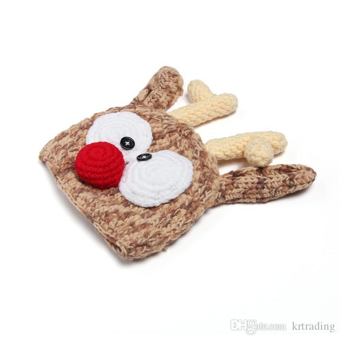 Newborns Handmade Crochet Deer Horn Hat Cute Baby Deer Antler Knitting hat for Photo props Christmas gifts for 0-1T