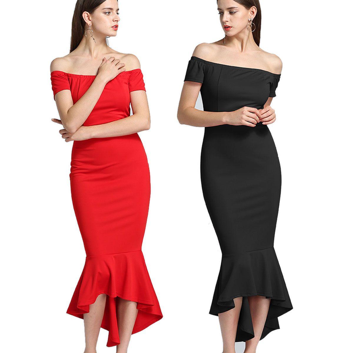 2019 Women Sexy Off Shoulder Party Dresses Lady Slash Neck Short Sleeve  Ruffled Hem Slim Evening Midi Mermaid Dress From Hengytrade eff748ece8e0