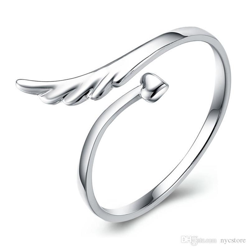925 스털링 실버 주얼리 반지 돌고래 잠자리 날개 천사 사랑 폭스 여는 여는 조절 링 여성을위한