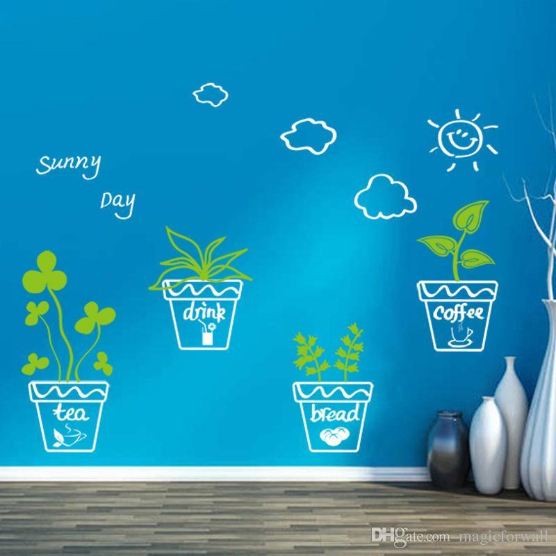 Mão dos desenhos animados Desenho Planta Em Vasos De Flores Nuvem Sol Decalques de Parede De Vidro Da Janela Decoração Adesivos de Parede Poster Balde de Metal Bonsai Papel De Parede Decor