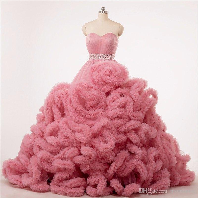 Compre Vestido De Baile De Boda De Rosa Corsé Vestidos De Fiesta ...