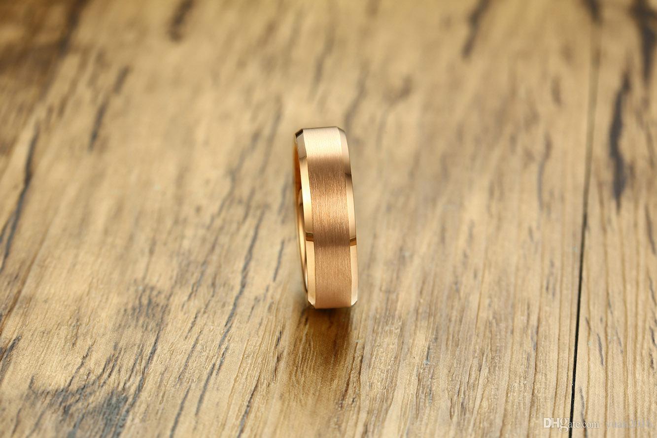 Anel de casamento 6mm subiu de ouro escovado carboneto de tungstênio anel dos homens para homens e mulheres conforto fit HOT SALE nos EUA e na Europa