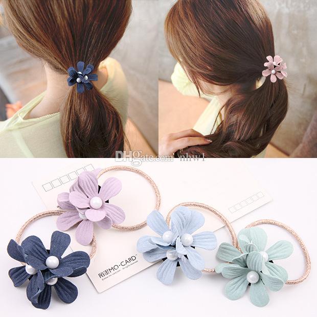 Fashion New Girls Flower Pearl Rubber Band Women Hairband Elastic ... d511a8a2c1e