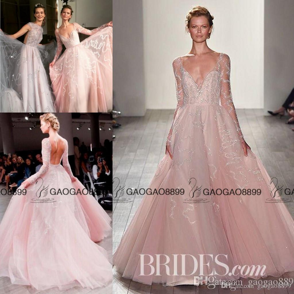 Discount hayley paige 2017 blush pink princess wedding dresses discount hayley paige 2017 blush pink princess wedding dresses with long sleeve luxury beaded detail middle east arabic elegant garden bridal gowns off the ombrellifo Gallery
