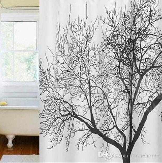 2019 Black Scenery Tree Design Bathroom Waterproof New Arrive Retro Minimalist White Colors Shower Curtains Fabric Curtain From Comehome