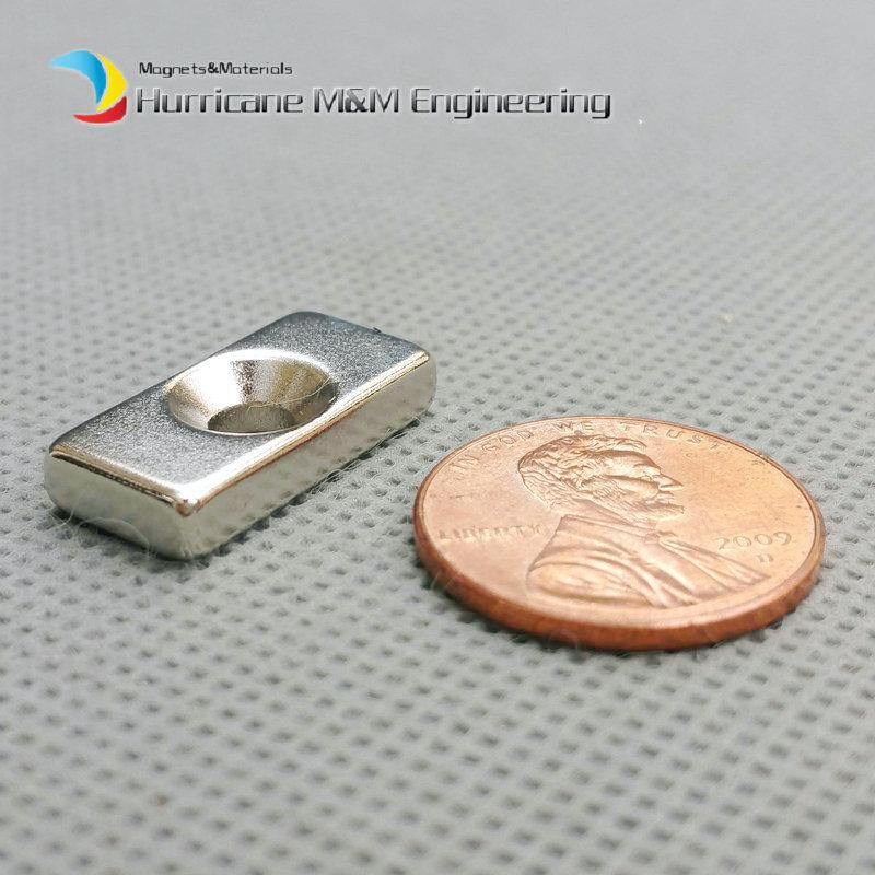 NdFeB Fix Magnet 20x10x4mm with M4 Screw Countersunk Hole Block N42 Neodymium Rare Earth Permanent Magnet
