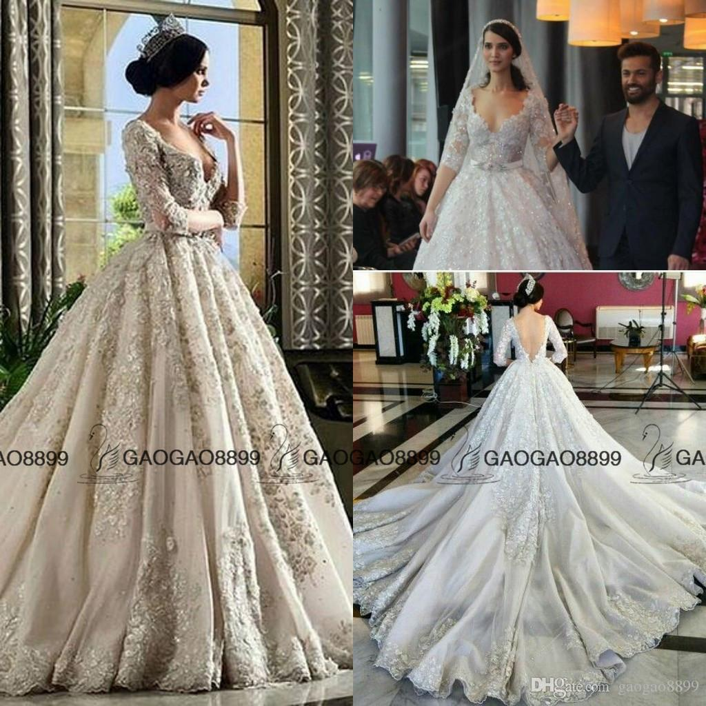 9989bf37df8 Discount Rami Salamoun 2017 Cathedral Train Muslim Arabic Dubai Long Sleeve  Wedding Dresses Luxury Lace Beaded Church Plus Size Wedding Gown The Knot  ...